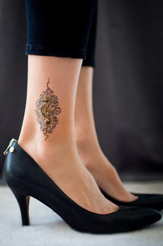 items similar to small seahorse temporary tattoo by michelle morean on etsy. Black Bedroom Furniture Sets. Home Design Ideas