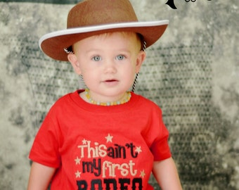 This ain't my first rodeo - Boys red embroidered shirt or bodysuit