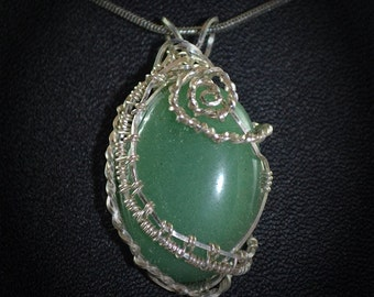Green aventurine sterling silver wire wrapped pendant