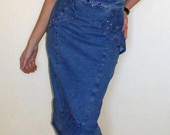 Vintage 80s High Waist Denim Skirt / Denim Pencil Skirt / Studded Denim Skirt