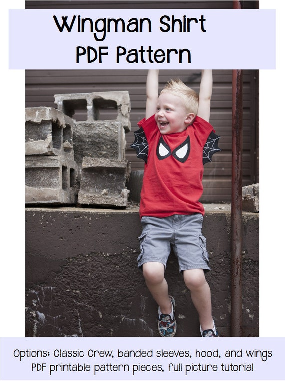 Wingman Shirt Sewing PDF Pattern Sizes 3months to 14 For Boys or Girls- superhero, bat, wing, hood, t-shirt