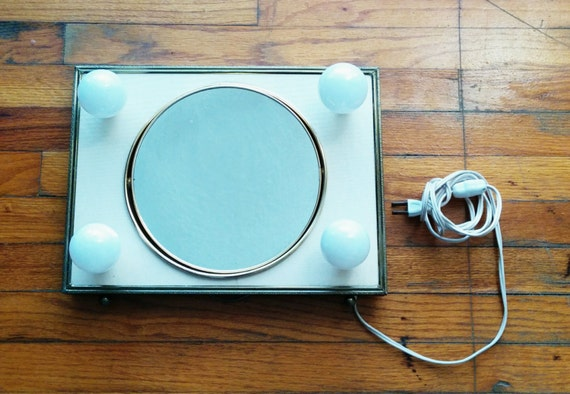 Vanity Mirror With Lights Portable : Vintage Mid Century Portable Vanity Mirror & Lights: WORKS