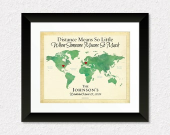 Long Distance Family Gift, Gift for Dad, Gift for Parents, Family Present, Going Away Gift, Gift for Military Family, Personalized Map