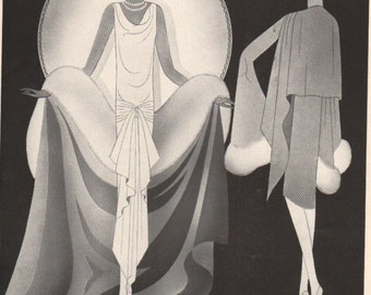 THREE FOR FOUR Art Deco era fashion print from Vogue magazine, front & back - fash 159