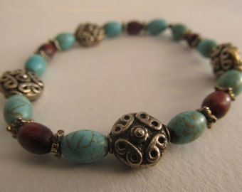 2366 - Bracelet Wood and Turquoise