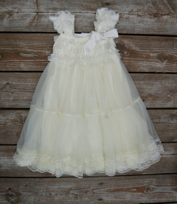 Ivory Flower Girl Dress. Lace Flowergirl Dress. Shabby Chic