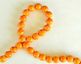 Golden Yellow Howlite Beads, 14mm, Stone Beads, 5 Beads, Stone, Gemstone