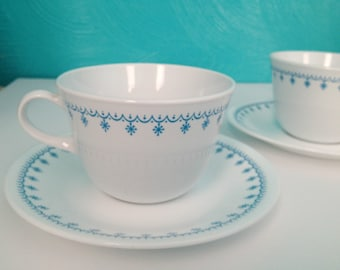 Vintage Corelle Snowflake Blue Cup & Saucer Set of Two Livingware by Corning