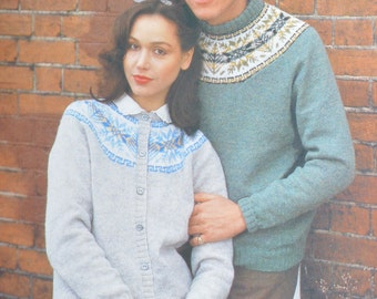 PDF mens womens fair isle sweater cardigan vintage knitting pattern pdf INSTANT download pattern only pdf 1980s
