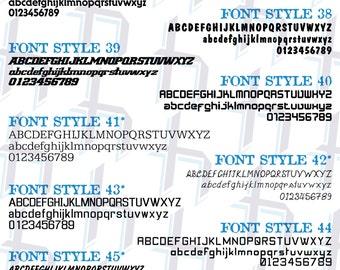 Custom Vinyl Lettering Font Styles 37-72 PRICED PER LETTER (1 Color)
