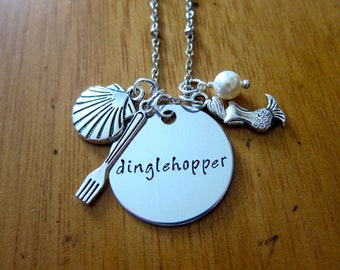 """Ariel Inspired Little Mermaid Necklace. Little Mermaid """"Dinglehopper"""". Little Mermaid jewelry.  Swarovski Elements Pearl. Hand stamped."""