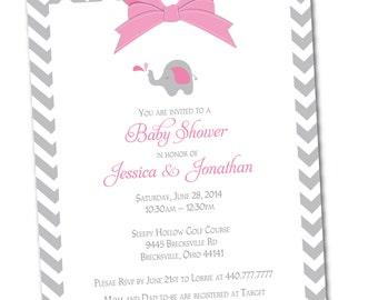 Baby Shower Invitation | Elephant and Chevron Invite {Digital File} Pink, Blue,  Unisex
