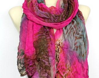 Animal Print Scarf - Purple Leopard Scarf - Fashion Scarf - Women Shawl - Unique Scarf - Fabric Scarf - Printed Scarf - Women Fashion