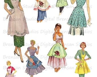 Vintage Apron Digital Collage Sheet, Instant Download, Vintage Patterns, Apron Clip Art