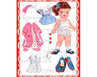 Printable Paper Doll ~ Instant Digital Download Vintage 1940s Paper Doll & Clothes Clipart PD-01