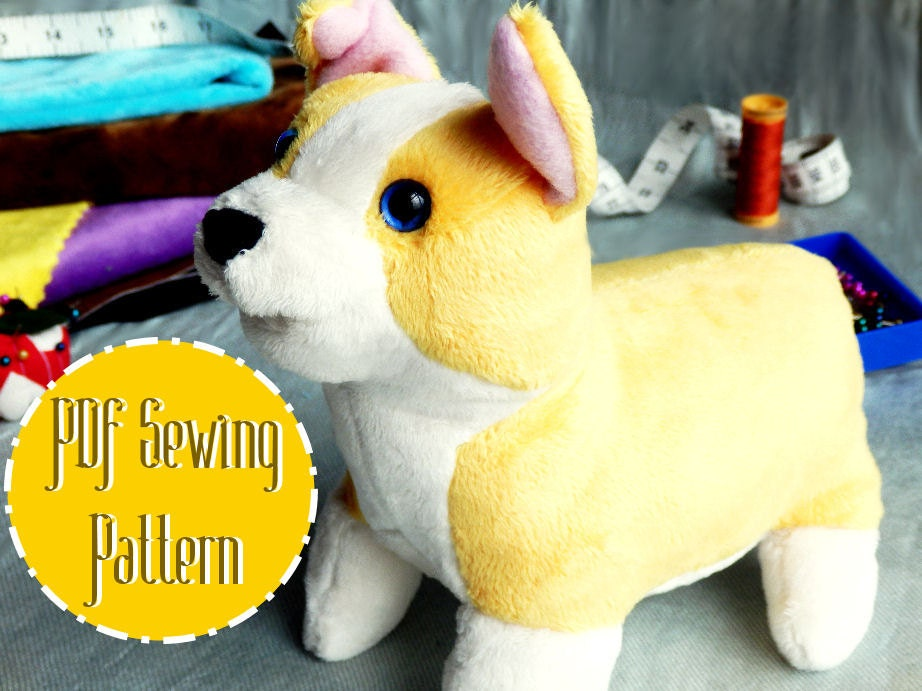 Corgi plush plush pattern stuffed animal sewing pdf from for Sewing templates for stuffed animals