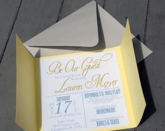 Disneyu0027s Beauty And The Beast Inspired Bridal Shower Invitation   Belleu0027s  Dress   DEPOSIT
