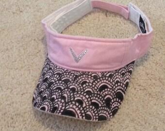 Pink golf/tennis visor with sharpie artwork