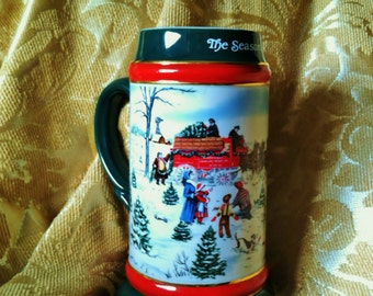 1991 Budweiser Beer Mug Holiday Stein by Ceramarte for Anheuser Busch, Vintage Old Christmas Handcrafted Ceramic Collectible Manly Gift Idea