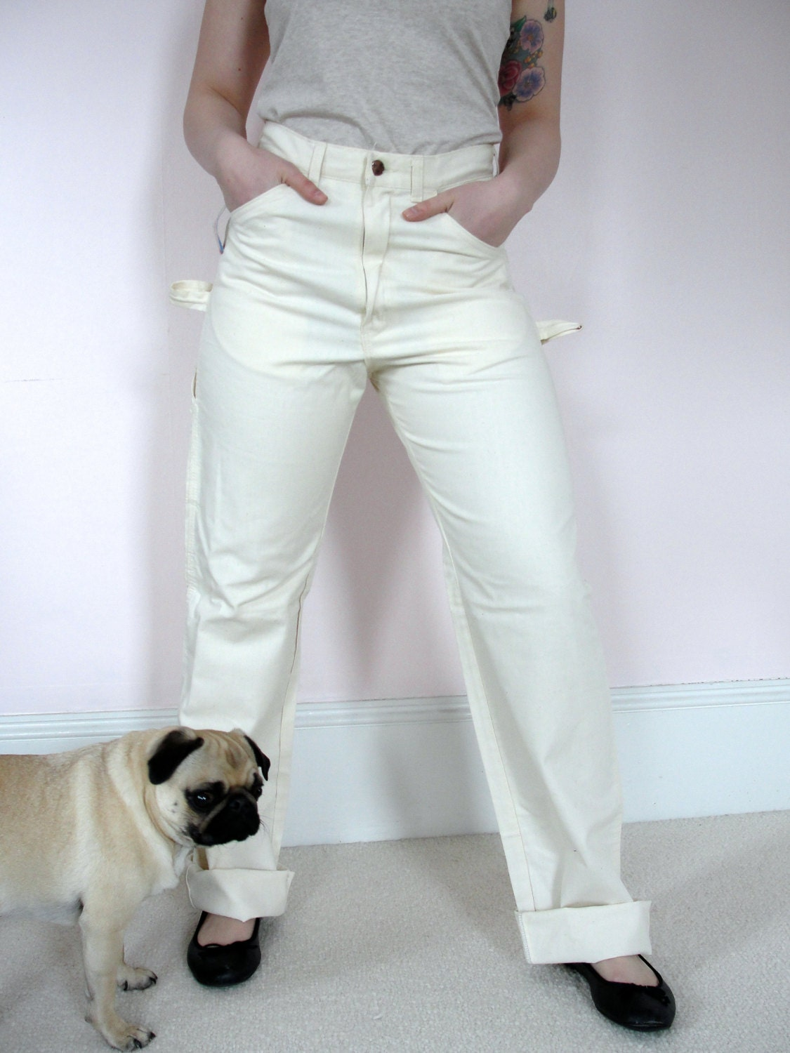 Vintage High Waist DEE CEE White Painters Pants Painter Jeans