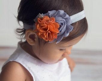 Grey and orange shabby chic headband with lace. Baby headband. Newborn headband. Grey and orange headband.