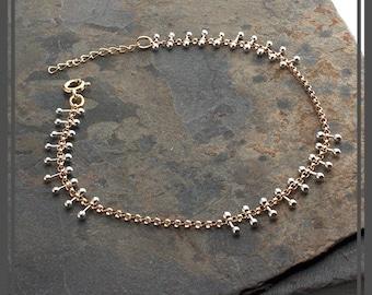 Gold Bracelet Sterling Silver Bracelet Chunky Bracelet Unique Dots Statement Bracelet Gift Bracelet, Minimalist Jewelry,Gift For Her