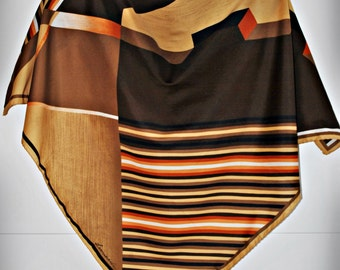 Vintage LEONARDI Scarf - Abstract Geometric Print - Op-Art - Stripes
