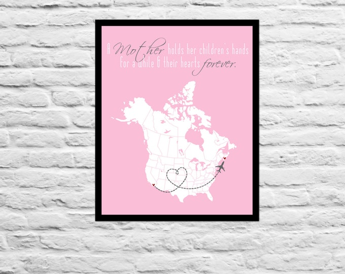 Personalized Long Distance Mother Print Custom Gift Family, Friend, Mom, Dad, Sister, Daughter, Best Friend Art Map Mother's Day