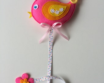 Pink birdie felt hairclip holder