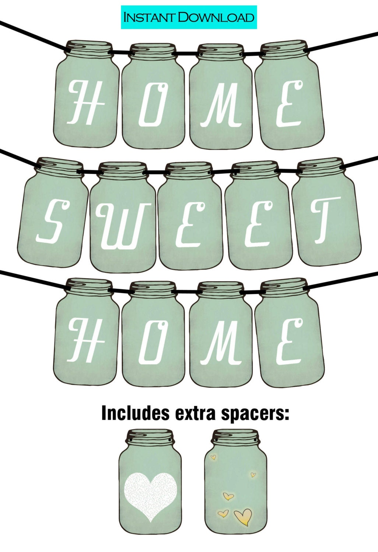 Home Sweet Home Vintage home sweet home vintage mason jar tag printable party banner