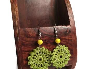 Crochet Earrings, Green Crochet Earrings, Round Crochet Earrings, Green Earrings
