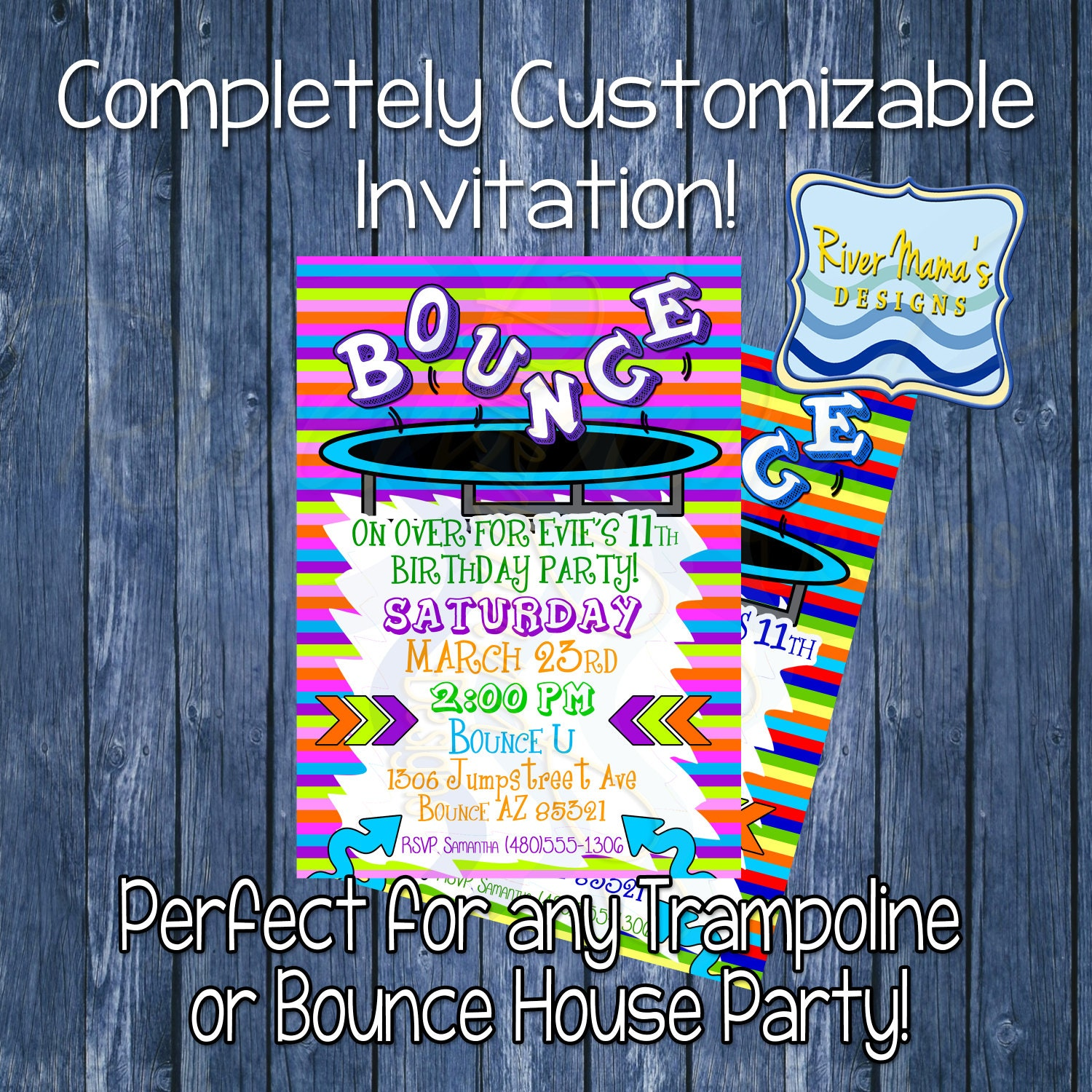 Trampoline Party Invitations: Printable Birthday Invitation Trampoline Or By