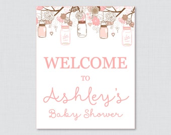 Baby Shower Welcome Sign Printable Personalized Shower Welcome Sign - Pink and Brown Baby Shower Mason Jars - Printable Welcome - 0064-P