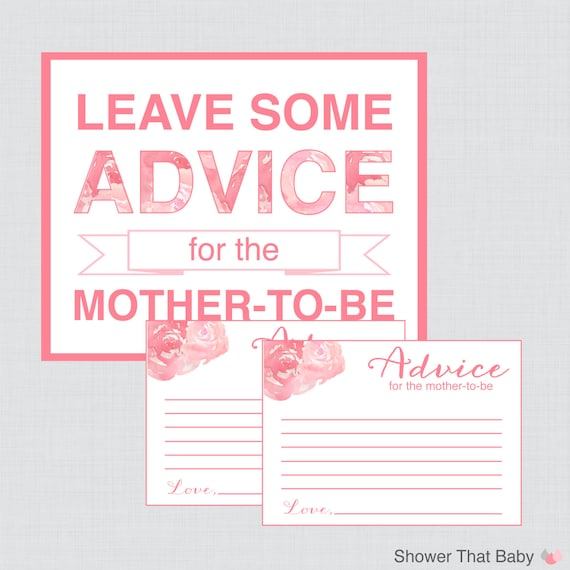baby shower advice cards and sign printable pink girl flowers advice
