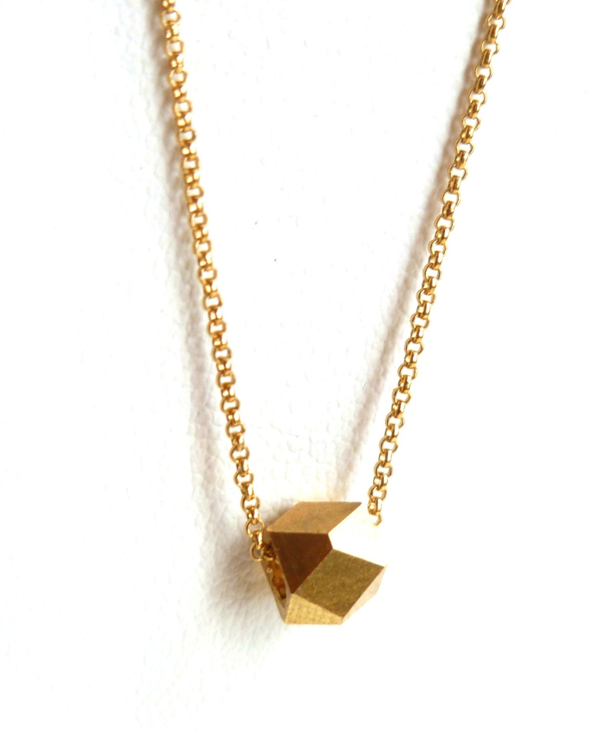 Thin Gold Chain Bracelet: Thin Gold Chain Necklace With Gold Prism Pendant By