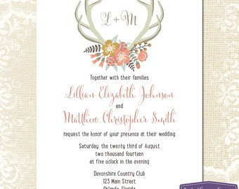 Floral Antlers Wedding Invitation - Coral Flowers Antler Rustic Wedding Invite - Nature Barn - 6043 PRINTABLE
