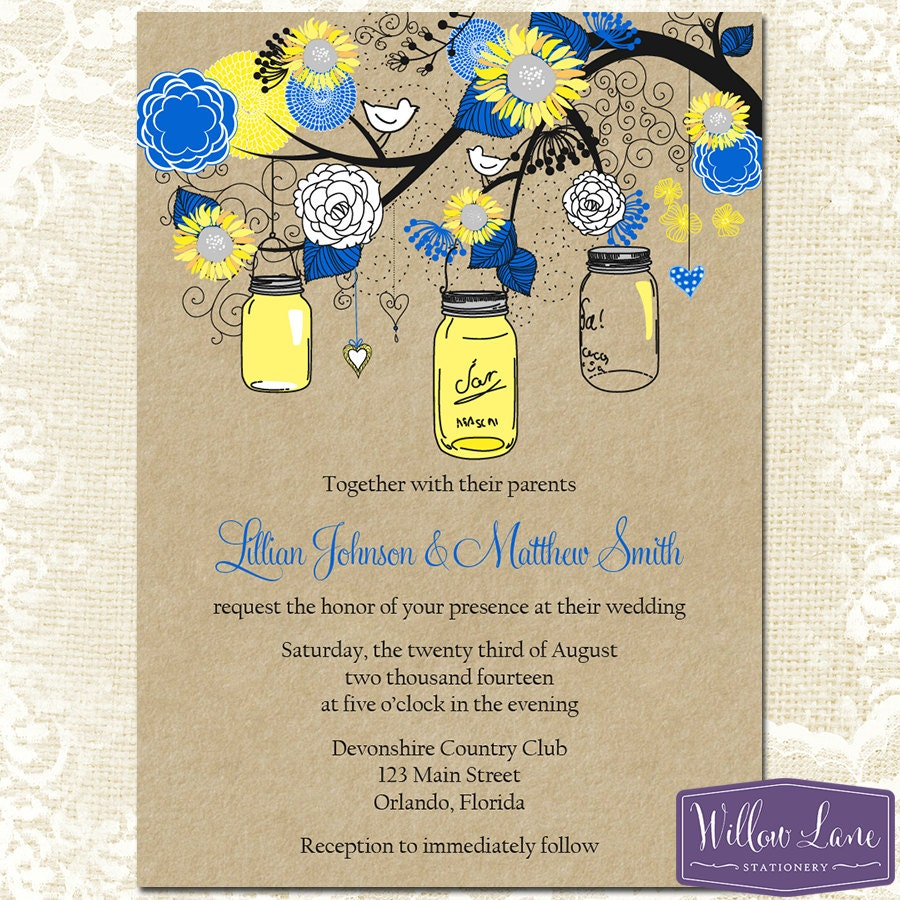 Sunflower Mason Jar Wedding Invitation – Royal Blue Yellow Kraft ...