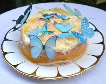 Edible BLUE Butterflies 3D Wafer Rice Paper Fantasy Butterfly Midnight Pastel Woodland Wedding Cake Decorations Rustic Cupcake Toppers Decor