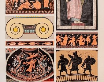Greek Decorative Ornament (Mosaic, Murals, Patterns, etc) Orange and Black - Chromolithograph Antique Print by Racinet.