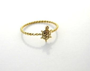 thin gold ring 14K GOLD Turtle Ring, stacking ring, dainty ring ,delicate ring gold jewelry