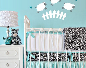 Counting Sheep Vinyl Wall Decal - Nursery or Children's Room Wall Sticker