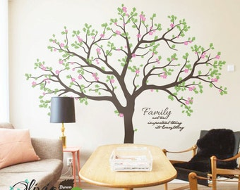 Large Family Tree Blossom Vinyl Wall Decal with Quote - NT007