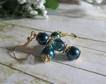 Teal Pearl Earrings, Teal Crystal Earrings,Sale Earrings, Teal Earrings, Crystal Earrings, Birthday Gifts Women, Earrings, Gifts