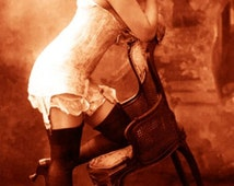 """Vintage Risque Nude Exotic - Erotic Corsets #016 Canvas Art Poster 16"""" x 24"""""""