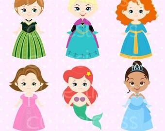 Princess Digital Clipart, Princess Clip Art, Cute Princess Clipart