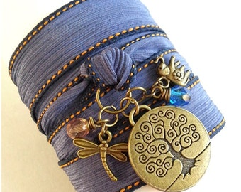 Tree of life Wrap Bracelet, Dragonfly Elephant Wrap, Yoga Silk Wrap Bracelet; ITEM NO.: WRP-50Df
