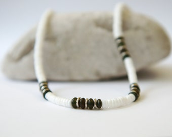 Sea shell white necklace, brown beads