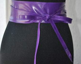 Purple leather obi belt Fucchia obi belt Violet leather obi belt.