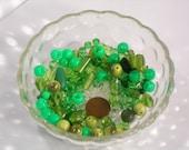 100 Loose Mixed Green Beads / Random Green Bead Lot / Mixed SIzes and Shapes / Glass Beads / Acrylic Bead Lot  #2
