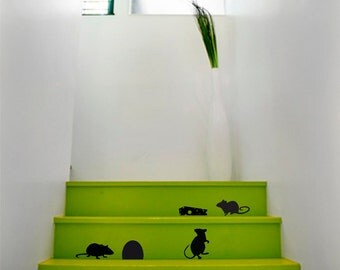 Wall Decals Mice Decal Vinyl Sticker Decor Stair decor Stair decal Home Interior Design Art Murals VK45